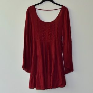 Altar'd State Mini Dress — Backless and Burgundy